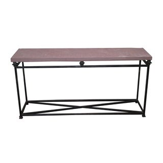 Quality Iron Base & Slate Top Console Table For Sale