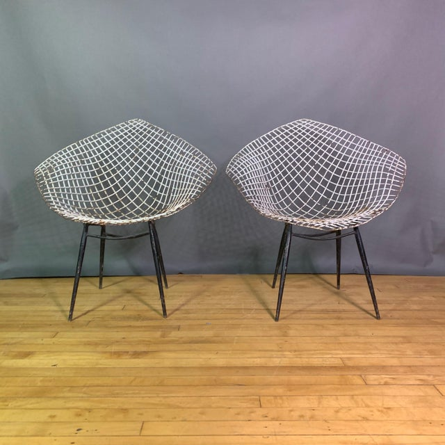 """A unique set of four garden chairs in the perfect 1950s Harry Bertoia """"Diamond"""" series style. Probably made in the 1970s..."""