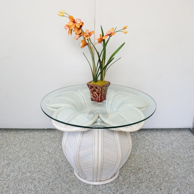 Gabriella Crespi Bamboo Pencil Reed Flower Shaped End Table For Sale - Image 4 of 5