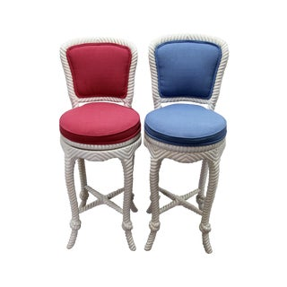 Italian Carved Rope & Tassel Bar Stools - A Pair For Sale