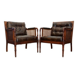 Faux Bamboo Tufted Leather & Cane Chairs, a Pair For Sale