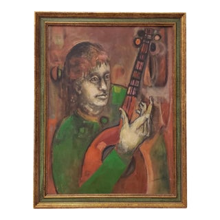 "Mid-Century ""Man With Guitar"" Oil Painting C. 1950s For Sale"