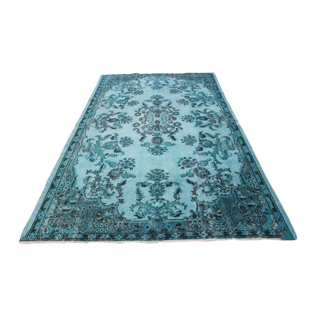 "Aqua Over-Dyed Turkish Oushak Rug - 5'7"" x 9'1"" - Image 1 of 6"