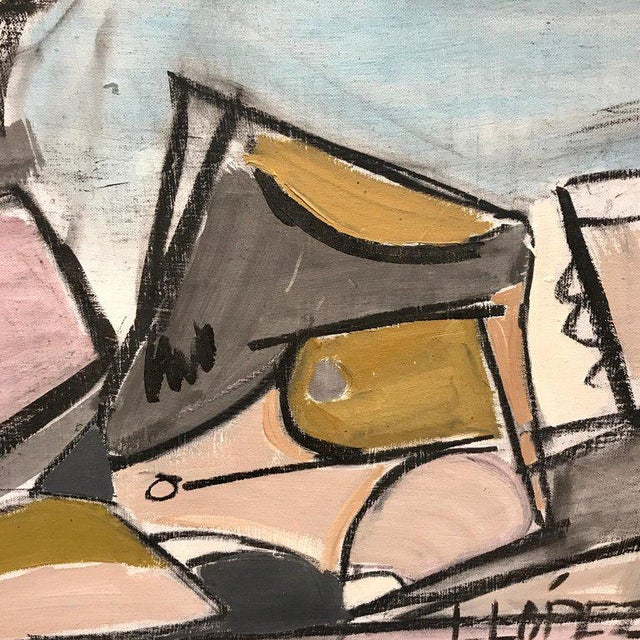 """Lucia Lopez Cubist Nude, 1960s Cuban, Died 2011 Oil on Artist Board 16""""x 20"""" Framed 18"""" x 22"""" Biography Lucia Lopez Lucia..."""