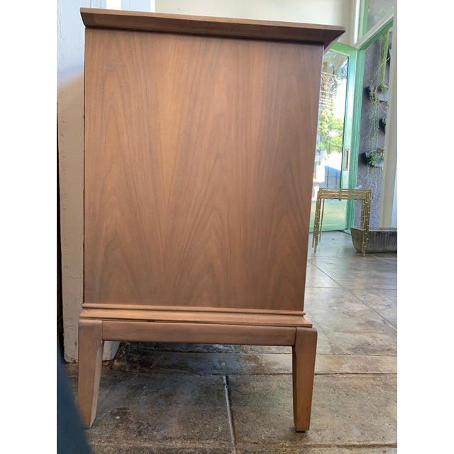 """Brown Mid-Century Modern Low Walnut Credenza Cabinet Carved """"Spade"""" Fruit For Sale - Image 8 of 9"""