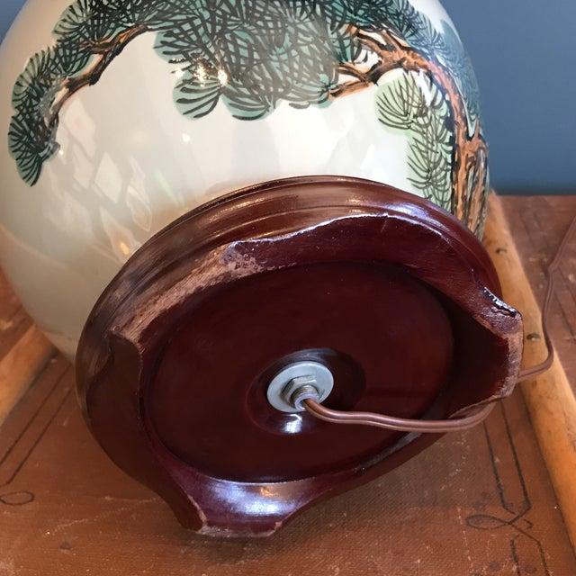 Vintage Asian Celadon Ceramic Lamp - Image 7 of 8