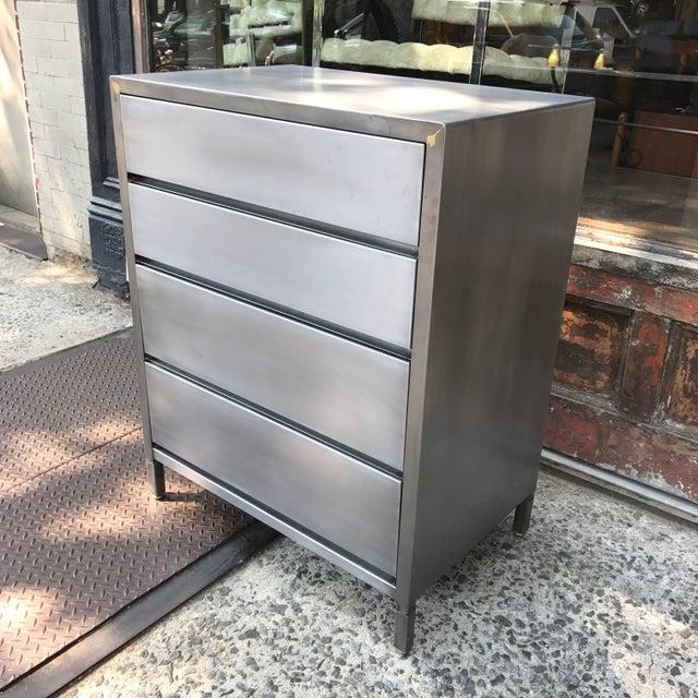 Norman Bel Geddes Machine Age Streamlined Brushed Steel Dresser by Superior Sleeprite For Sale - Image 4 of 10