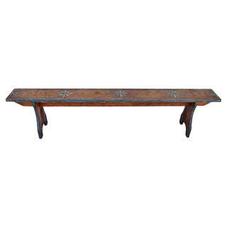 1930s Hand-Painted Farmhouse Country Bench
