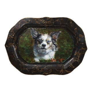 1980s English Traditional Tole Dog Portrait Tray For Sale