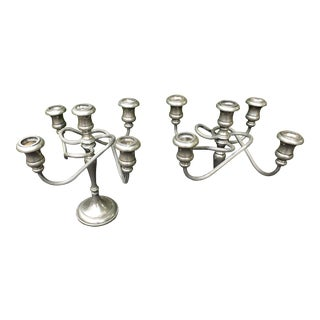 1930 Recency Style Italian Silver Plaited Candelabras - a Pair For Sale