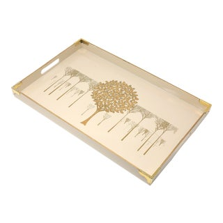 "Vintage Ivory Lacquerware ""Golden Mist"" Tray by Otagiri Japan For Sale"