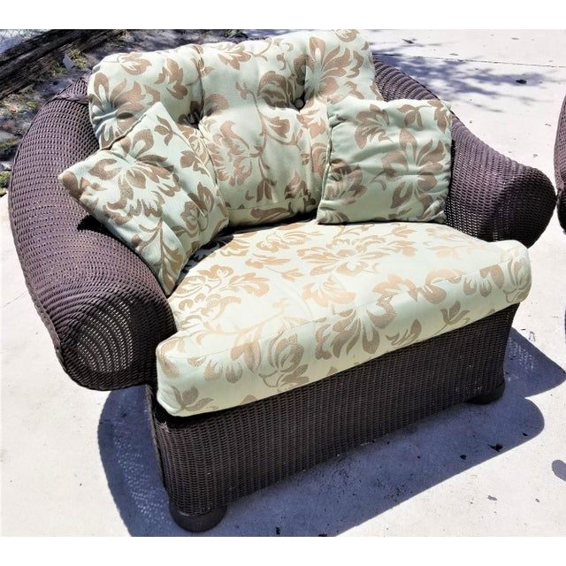 1970s Lloyd Flanders Loom Wicker Weather Resistant Lounge Chair with Custom Cushions For Sale - Image 5 of 5