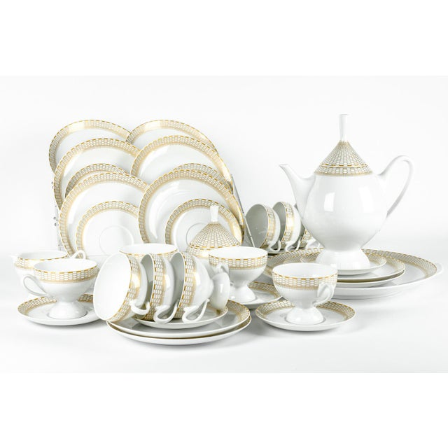 Art Deco Art Deco German Porcelain Luncheon Tea & Coffee Set For Sale - Image 3 of 9
