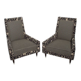 Mid Century Modern Pair Italian Gio Ponti Style Lounge Chairs, Fun Design For Sale