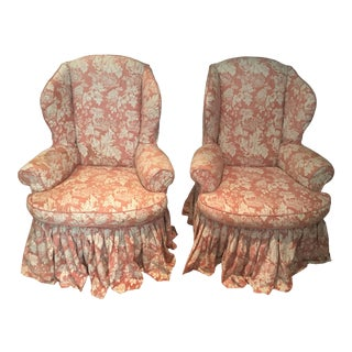 1990s Queen Ann Wingback Chairs - a Pair For Sale