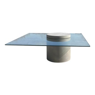 Industrial Modern Concrete and Glass Cantilevered Coffee Table For Sale
