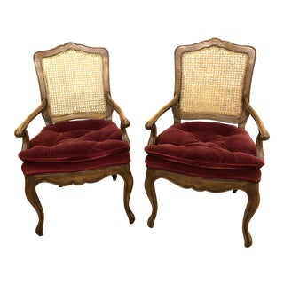 Baker Tufted Velvet Armchairs - a Pair For Sale