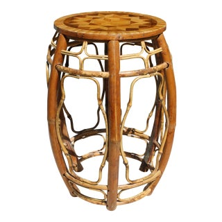 Vintage Bent Bamboo Chinoiserie Style Stool / Table