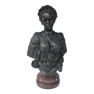 Bronze Woman Sculpture With Marble Base