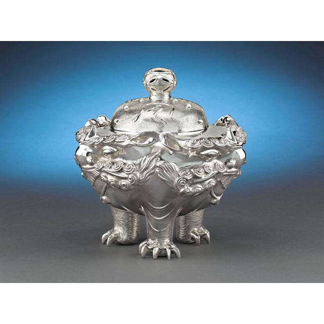 This stunning Meiji period silver censer is a work of exquisite detail. Crafted by renowned silversmith Masatoshi of...