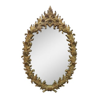 1960 Vintage Hollywood Regency Gilt Oval Mirror For Sale