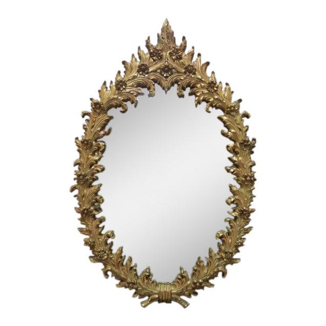 1960 Vintage Hollywood Regency Gilt Oval Mirror For Sale