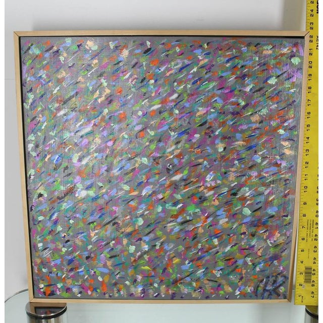 Blue Square Abstract Modern Painting Artist Signed Herman Kahan For Sale - Image 8 of 8