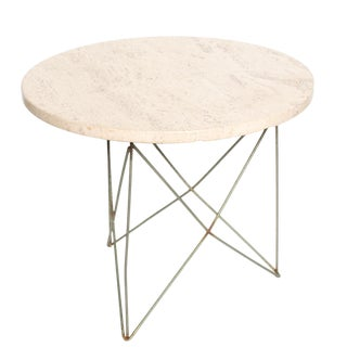 Mid-Century Modern Travertine Top Eiffel Tower Base Side Table For Sale