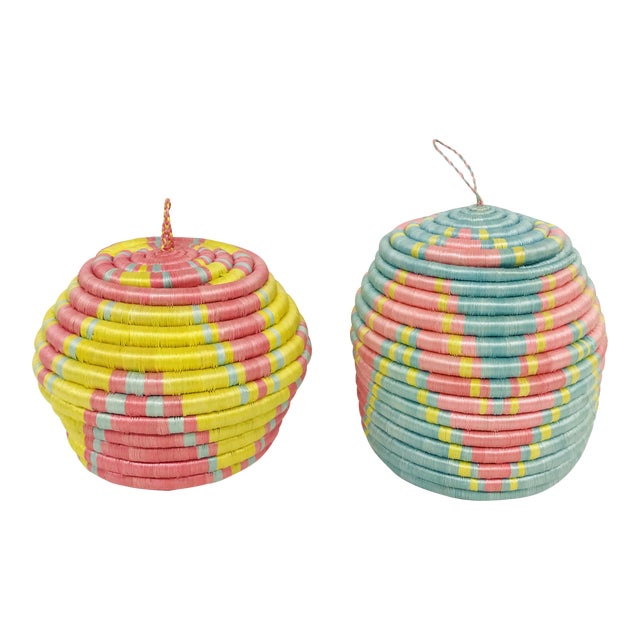 Pink/Yellow & Blue/Pink African Artisan Baskets - A Pair - Image 1 of 11