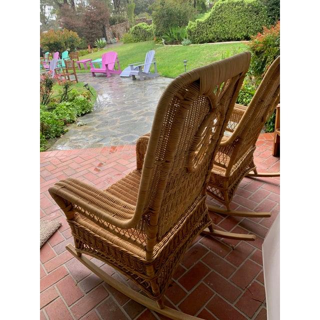 Ralph Lauren Ralph Lauren Wicker Rattan Rocking Chairs - Pair For Sale - Image 4 of 10