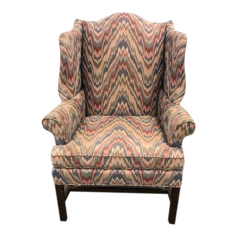 Sherrill Furniture Traditional Flamestitch Patterned Club Chair For Sale