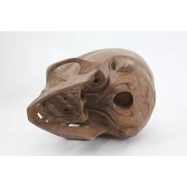 Vintage Hand-Carved Wooden Skull - Image 5 of 6