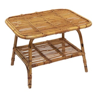 Italian Rattan Midcentury Accent Table of Cane and Bamboo For Sale