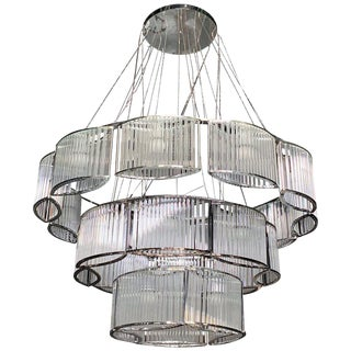 New Chrome & Glass CIrcular Chandelier For Sale