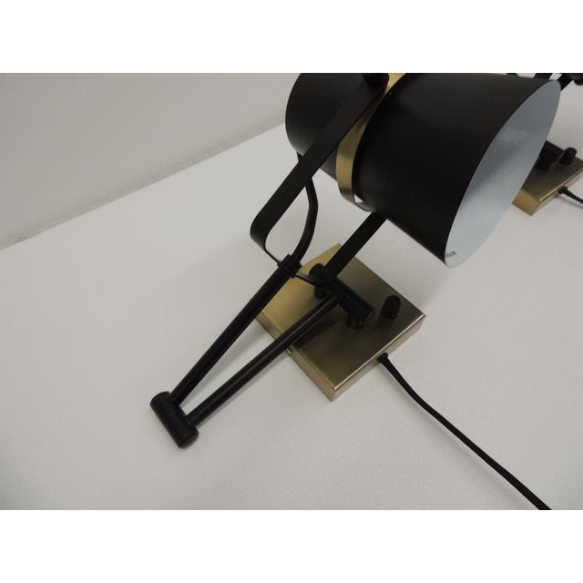 Early 21st Century Pair of Mid Century Modern Style Wall Swing on Lamps For Sale - Image 5 of 12