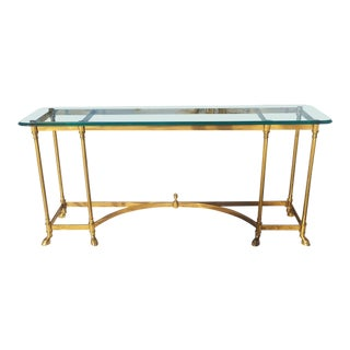 1960s Hollywood Regency LaBarge Brass & Glass Console/Sofa Table For Sale