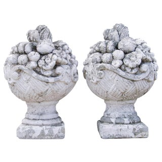 1930s Estate Grand Oversize Floral Concrete Garden Finials - A Pair
