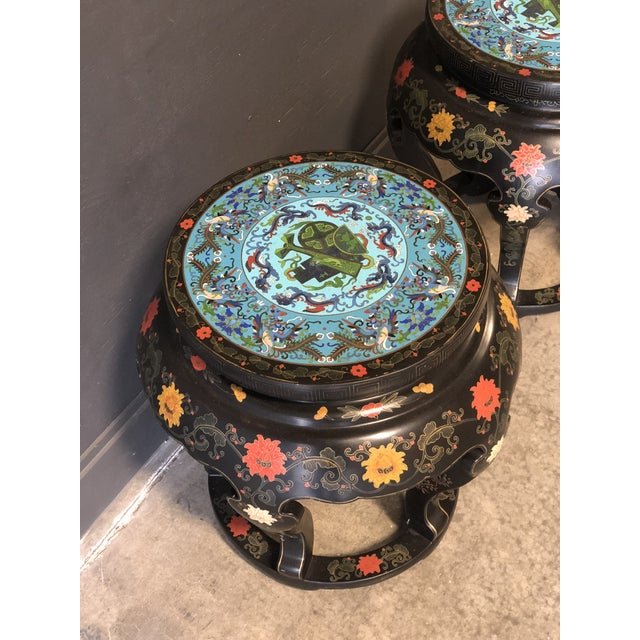 1920's Chinese Round Black Lacquered Side Tables With Blue Cloisonné Tops For Sale - Image 4 of 10