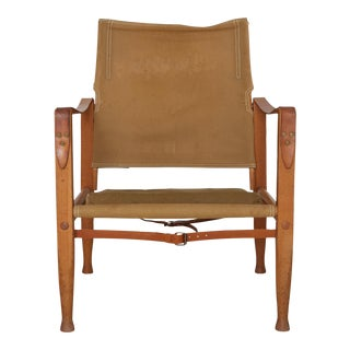 Kaare Klint Safari Chair in Canvas, Made by Rud Rasmussen, Denmark, 1960s For Sale