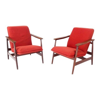 Mid-Century Danish Modern Solid Oiled Walnut Lounge Chairs- A Pair For Sale