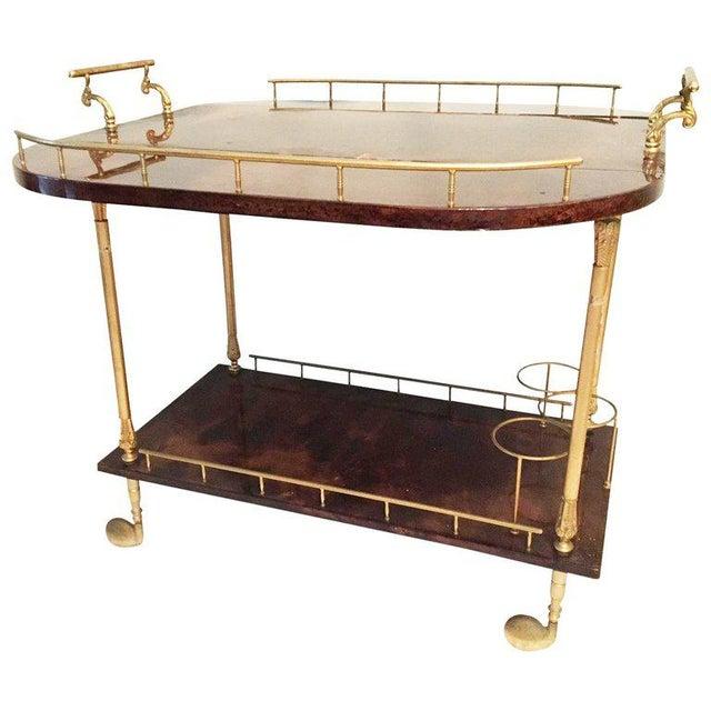 Gold Vintage Aldo Tura Italian Lacquered Goat Skin Bar or Tea Cart For Sale - Image 8 of 8