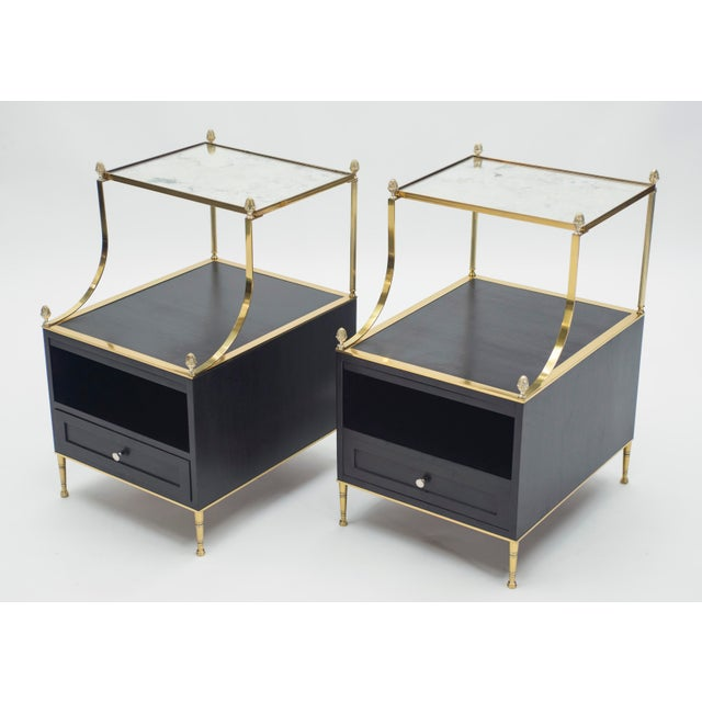 Rare Pair of French Maison Charles Brass Mirrored End Tables 1950s For Sale - Image 13 of 13