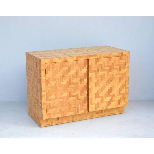 Midcentury Two-Door Rattan Cabinet For Sale - Image 4 of 11