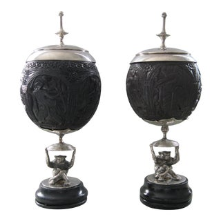Late 1800's Antique Anglo Indian Burmese Finely Carved Coconuts on Silvered Monkey Bases - a Pair For Sale