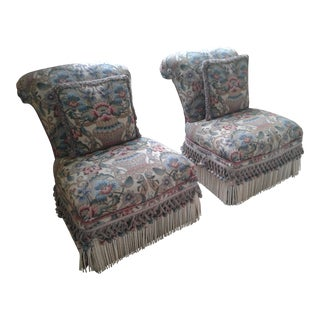 Vintage Upholstered Slipper Chairs - a Pair
