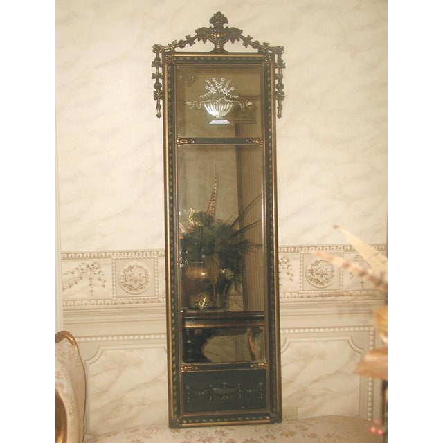 Neoclassical French Gilt Black Etched Mirror - Image 2 of 8