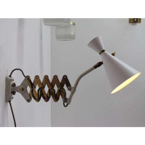 German White and Brass Scissor Lamp - Image 10 of 10