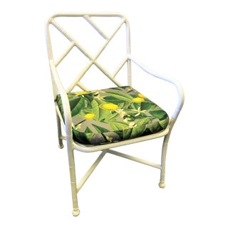 Vintage Chinese Chippendale Outdoor Aluminum Arm Chair With Reversible Seat Cushion For Sale