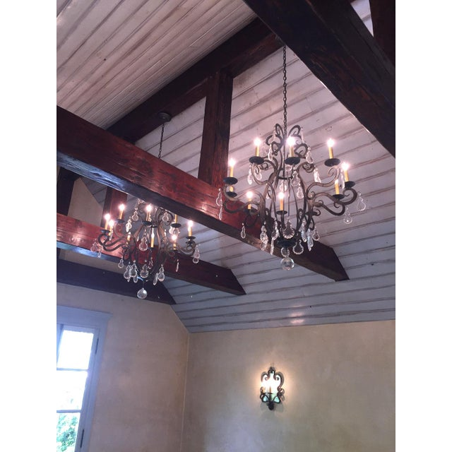 Large Iron Chandeliers With Crystal Pendalogues - Image 3 of 7