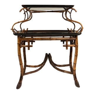 English Victorian Bamboo 2-Tier Table For Sale